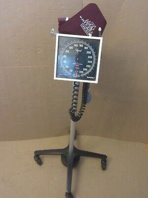 Welch Allyn Tycos Blood Pressure Gauge Cuff Sphygmomanometer W Rolling Stand