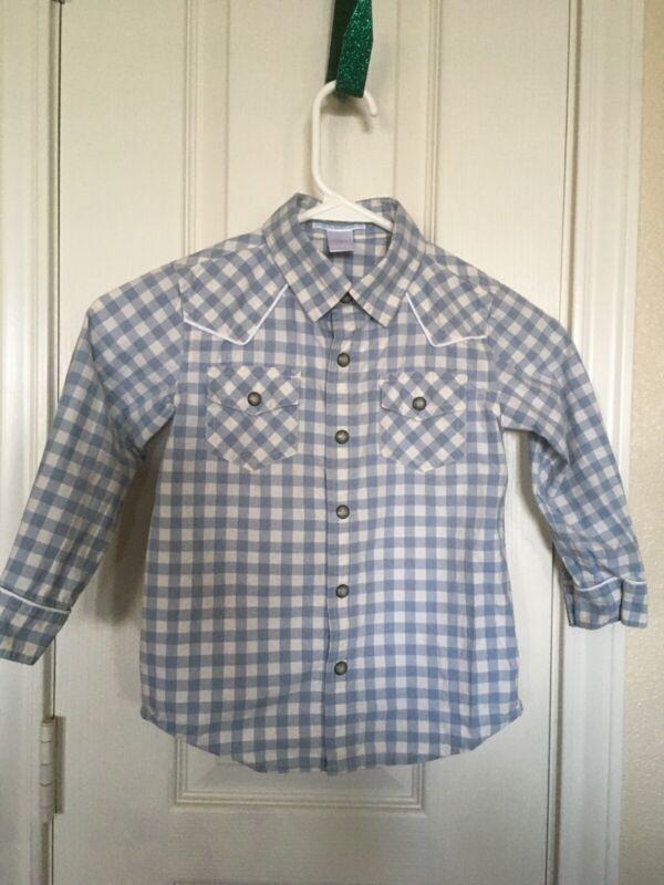 Janie and Jack Toddler Boy 4T Button Blue,White Check Retro Western Cowboy Shirt