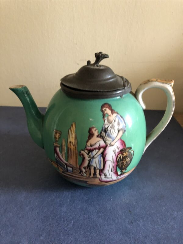 Antique English Hand Painted Porcelain Tea Pot, Circa 1880