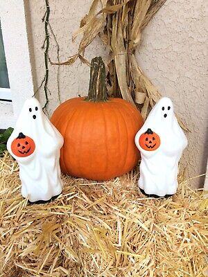 "Vtg Halloween Empire Ghosts Set Blow Mold Tree Light Topper 10"" Lighted Prop"