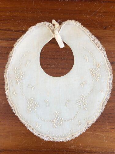 VINTAGE Baby Bib Pale Blue Heirloom Baby Accessory Embroidered Bib