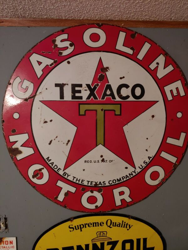 Texaco 42 inch Single Sided Porcelain Sign