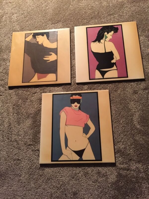 Vintage Patrick Nagel Art Deco 1980s Ceramic Tiles Set Of 3 Excellent Condition