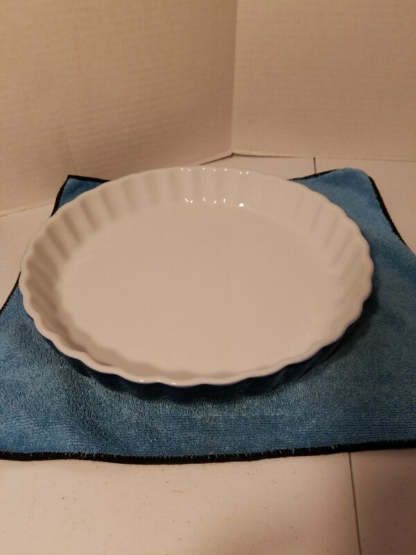 Baking Dish Pie Blue/White Pan 10 Inch Durable Fine Porcelain Oven Safe