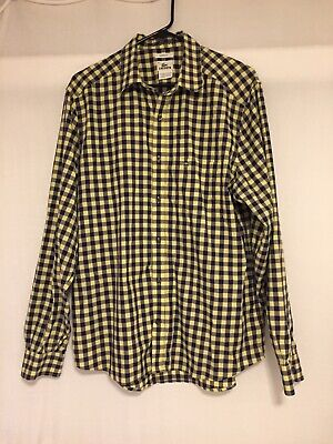LACOSTE Mens Button Down Shirt Long Sleeve Size 42 Large Check Yellow / Blue