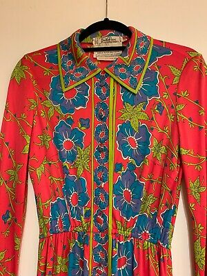 Vintage Emilio Pucci Red And Blue Floral Silk Dress Size 12