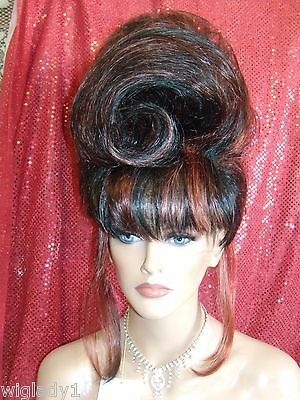 HALLOWEEN SPECIAL VEGAS GIRL WIGS PICK YOUR COLOR SMOOTH C-CURL AWESOME UPDO WIG - Vegas Halloween Girls