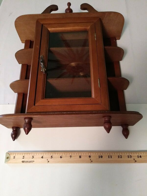Vintage, Small Wooden Display  or Curio Cabinet- 18in x14in x5in