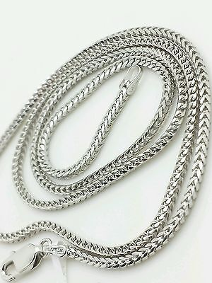 14k Solid White Gold Square Box Franco Chain Necklace 16