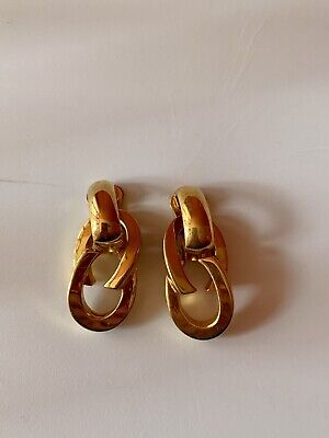 Vintage GUCCI Earrings-Clip-On-Gold-ITALY