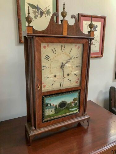 Antique 19th Century Eli Terry Pillar & Scroll Shelf Clock