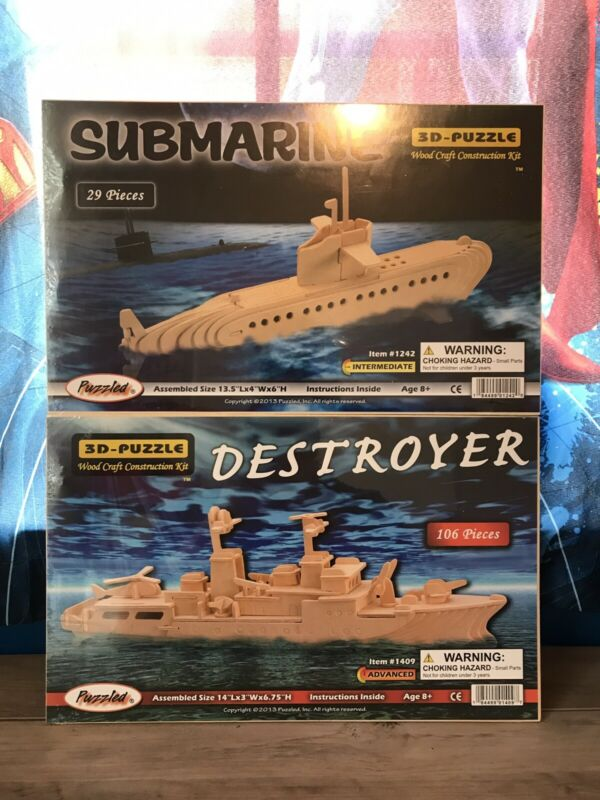 3D Woodcraft Puzzles Set Of 2 (Destroyer and Submarine) Puzzled Brand