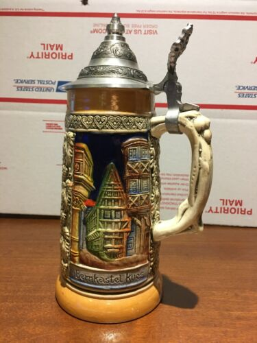 **BEER STEIN by ARMIN BAY Germany, Handpainted, w/Pewter Lid ZINN