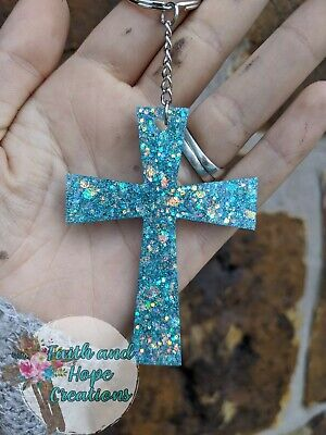 Handmade Blue Glitter Resin Cross Keychain Blue Handmade Resin