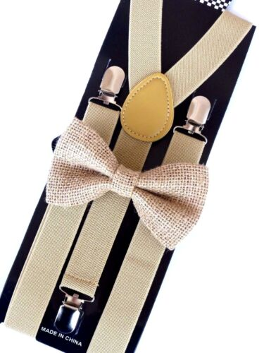 New Barnyard Beige Suspender And Bow Tie Matching Set Tuxedo Wedding Suit Hemp