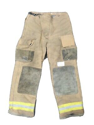 36x36 36x32 Brown Globe Firefighter Turnout Bunker Pants W Yellow Tape P1172