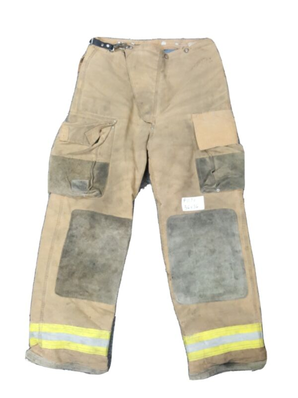 36x36 36x32 Brown Globe Firefighter Turnout Bunker Pants w/ Yellow Tape P1172