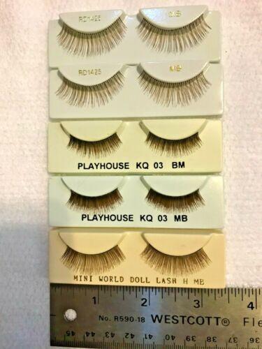 Eyelashes for Porcelain Dolls, Medium Brown, 5 Pair