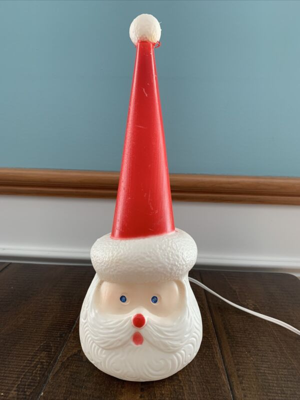 Vintage Union Products Christmas Santa Head Blow Mold Light-Up Nice Condition