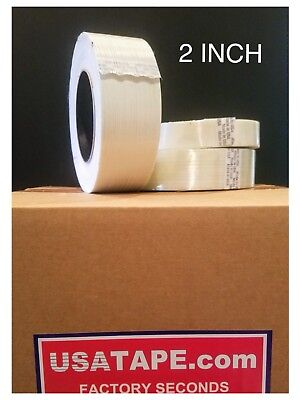 Lot Of 24 Rolls 2 Inch X 60 Filament Strapping Tape Factory Seconds Fiberglass
