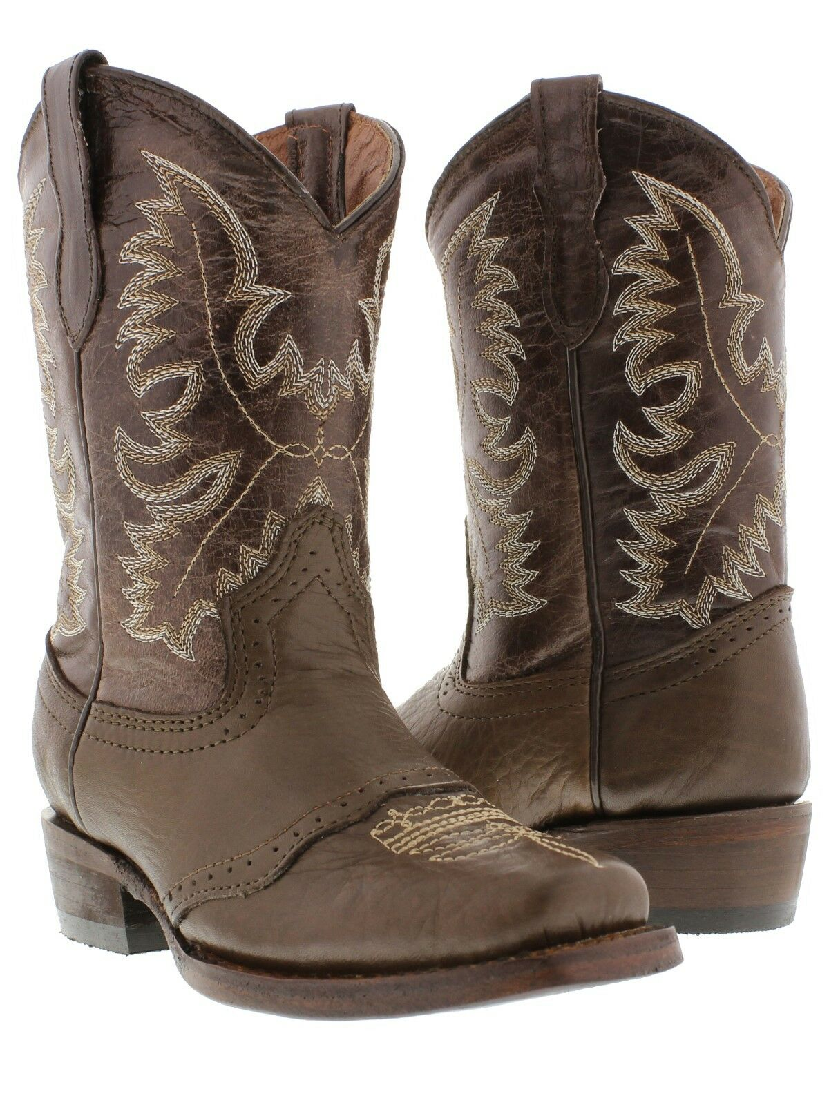 Veretta Childrens Brown Saddle Cowboy Boots Youth Boys Western Rodeo Square Toe