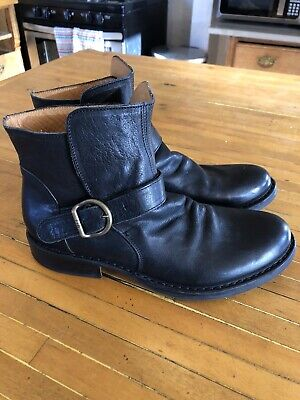 Fiorentini Baker Black Leather Buckle Boots 39 (Italy)/ 9 (US) motorcycle Boot