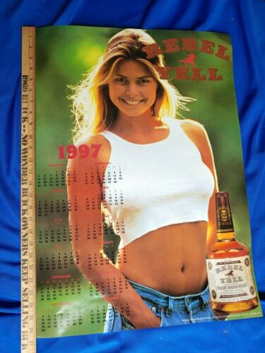 1997 Rebel Yell Bourbon Advertising Poster Sign Calendar Pinup Girl Swimsuit