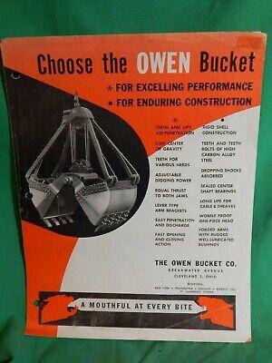1950s Owen Bucket Co. Ohio Original Sales Literature Buckets Grapples.