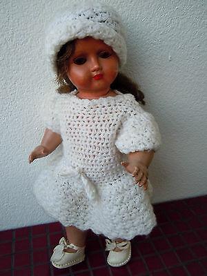 Alte BtE SGDG 'BELLA' Puppe aus den 40er Jahren 33 cm Schlafaugen prima Zust.