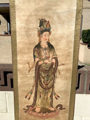 Chinese Antique Scroll Painting Of Guanyin