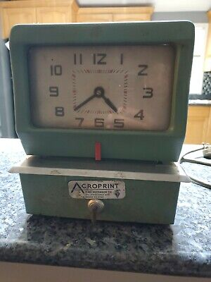 Acroprint Time Recorder Clock Manual Punch Card 125nr4 With Key Works