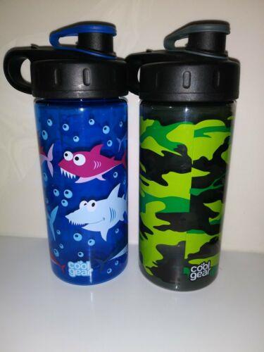 2- Cool Gear Kids 16 Oz Water Bottles BPA Free 'Dinosaurs' &