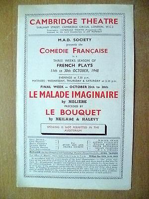 1948 Theatre Programme- Yvonne Gaudeau in LE BOUQUET & LE MALADE IMAGINAIRE