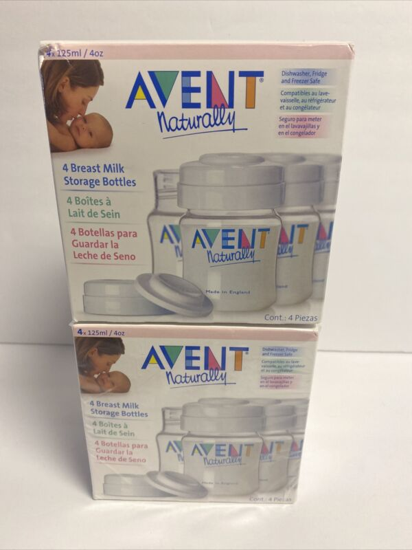 Avent Naturally 4 Breast Milk Storage Bottles 4 oz each NEW SEALED Lot Of 2