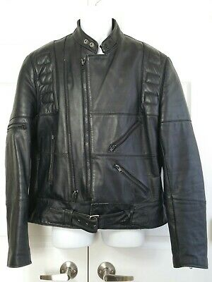 Vintage Wilsons leather suede black leather motorcycle rider biker jacket 44 XL