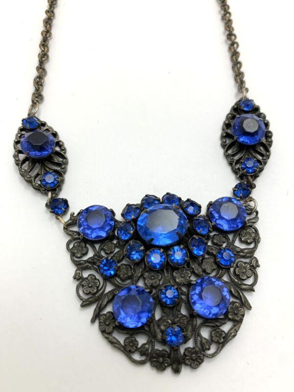 Vintage Bohemian Blue Glass Rhinestone Floral Filigree Necklace Art Nouveau