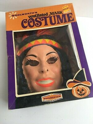 Vintage 1960s Ben Cooper Woolworth's Mask Costume - Indian Girl - Complete/w box