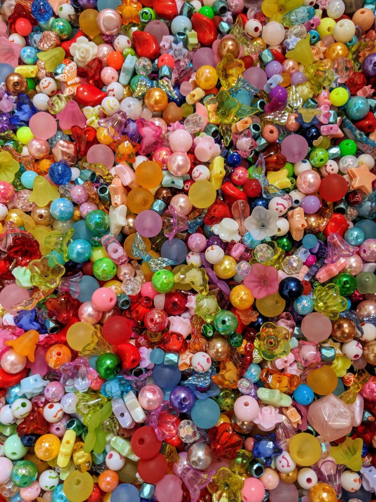 100g Acryl Chaosmischung Chaostüte Perlen Kelche Basteln Bunt Mix Acrylperlen