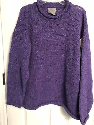NWT Triona Design XXL Purple Tweed Ardara Co Donegal Ireland 100%Wool Sweater