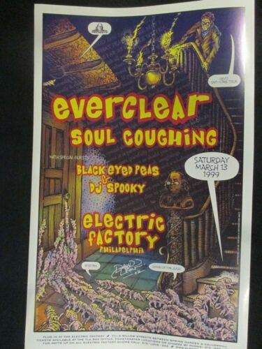 Everclear Black Eyed Peas Poster ORIGINAL 12X18 Signed by the Artist Mar 13 1999