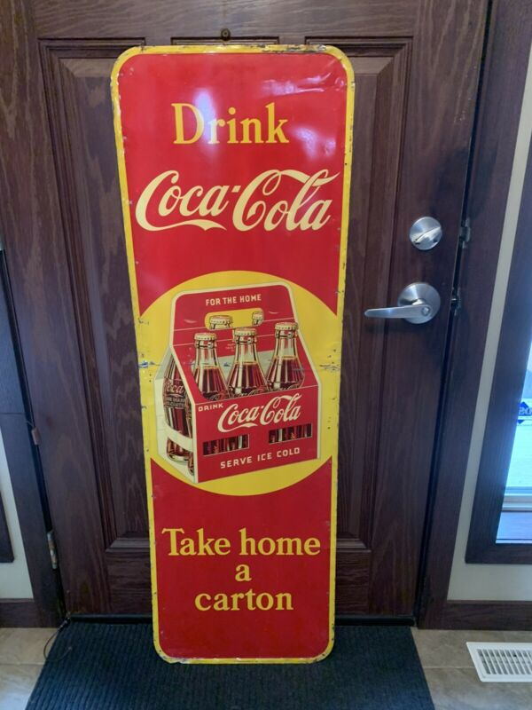 Vintage Coca-Cola 6 Pack Sign Tin Vertical Advertising Coke Sign