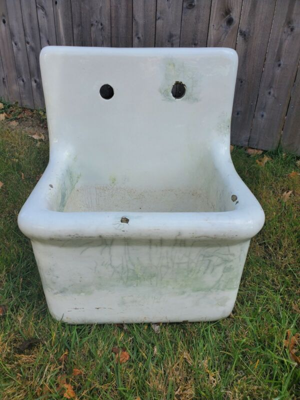 Vintage Porcelain Janitor Utility Laundry Sink w/Drain and Faucets