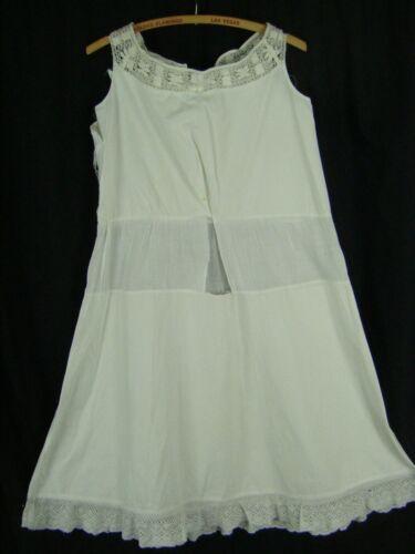 Antique White Crochet Lace Sleeveless Girl/Jr Dress Slip-Bust 35, Damaged!