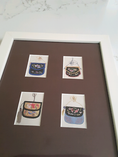 White frame print  of handbags
