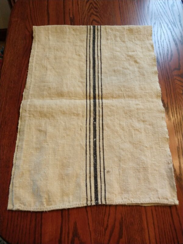 "Vtg Antique Grain Sack Blue Stripe European Feed Bag Runner 18"" x 52"" authentic"