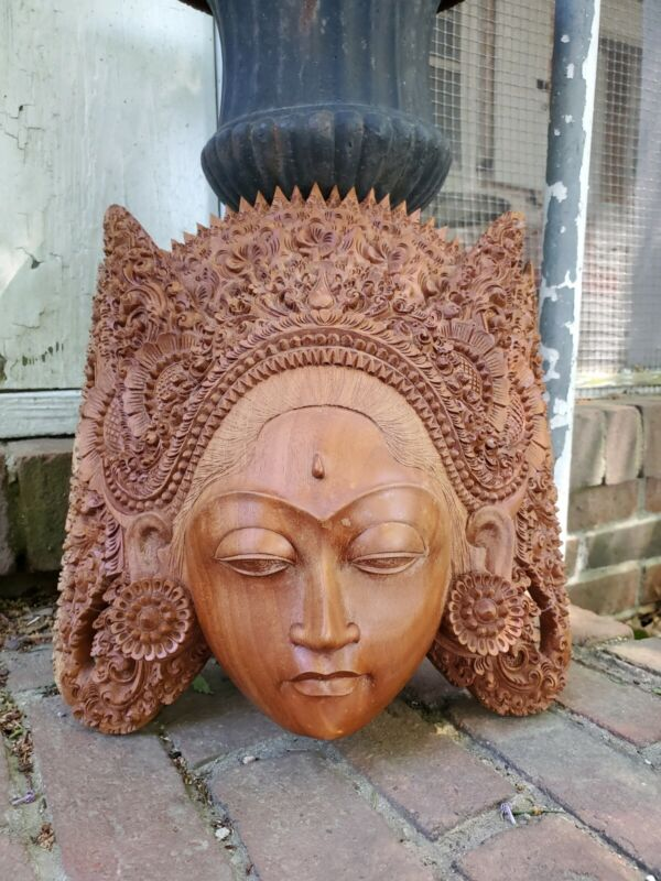 Vintage Balinese Female Hand Carved Solid Wood Face Mask Goddess Beautiful