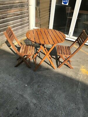 Wooden Round Folding Garden Patio Table and Two Folding Wooden Chairs
