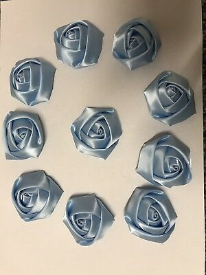 "10 Baby Blue Handmade 4d Satin Rose Flowers 2"",  Bouquet,Corsage,Wedding,Crafts."
