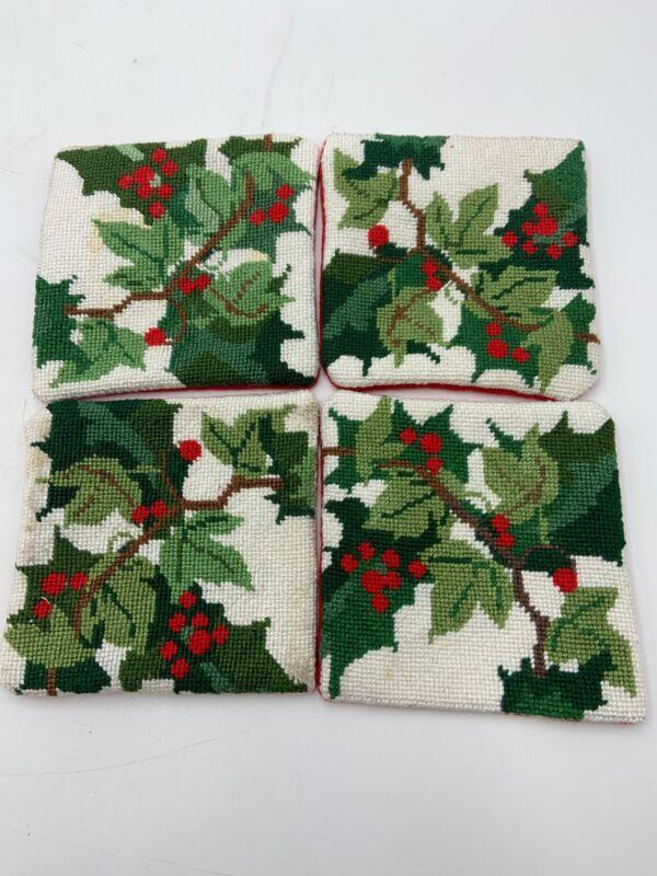Christmas Holly Wool Needlepoint Coaster Set of 4 Handmade