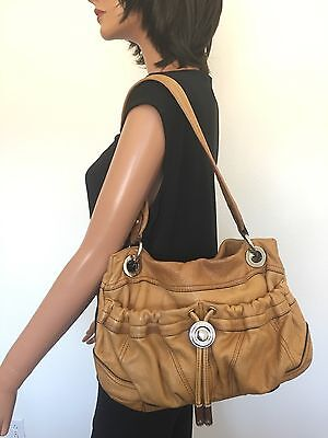 B. Makowsky Leather Bag Yellow Designer Fashion Hip Chic